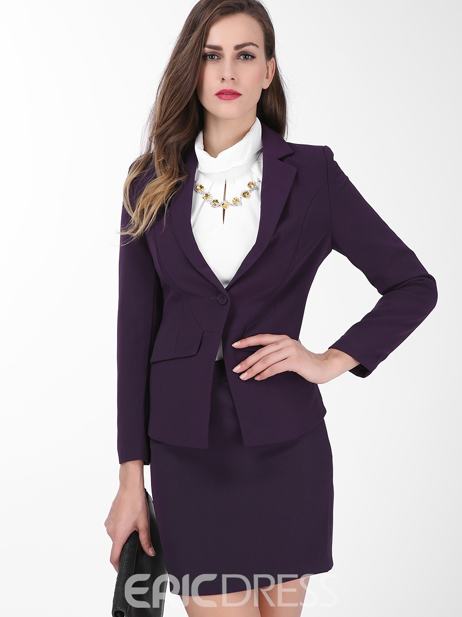Ericdress Womens Plain Long-sleeve Blazer And Bodycon Skirt Suit