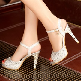 Ericdress Chic Peep-toe Stiletto Sandals with Rhinestone
