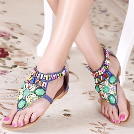 Breathtaking Flat Heels Women Sandals with Rhinestones