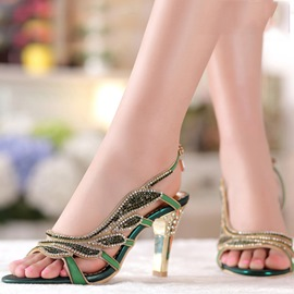 Ericdress Fashion Leaf Luxrious Rhinestone Stiletto Sandals