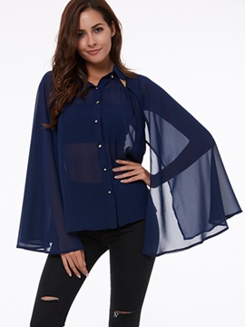 Ericdress Pleated Lapel Belt Batwing Blouse