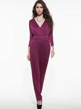 Ericdress V-Neck Plus Size Jumpsuits Pants