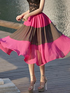 Ericdress Color Block Expansion Usual Skirt
