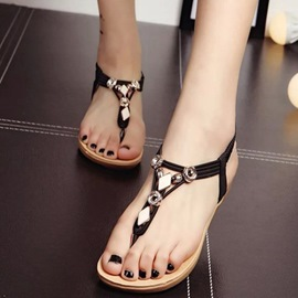 Ericdress Ethnic Clip Toe Flat Sandals