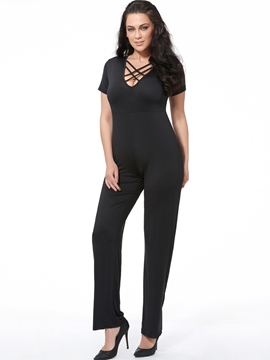 Ericdress Plain V-Neck Plus Size Jumpsuits Pants