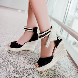 Ericdress Lace&pearl Decorated Wedge Sandals