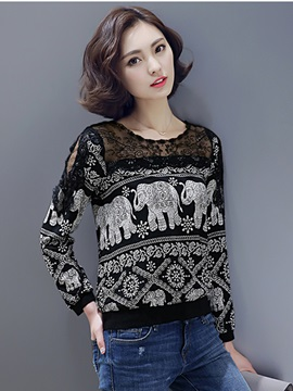 Ericdress Black Abstract Print Long Sleeve Lace Blouse