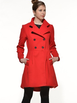 Ericdress Plain Slim Pleated Double-Breasted Coat