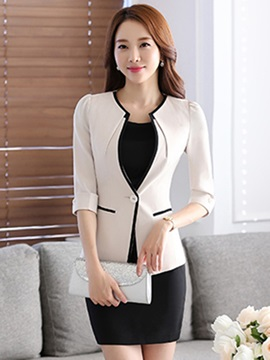Ericdress OL Color Block Blazer