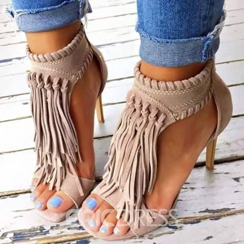 Ericdress Nude Tassels Decoration Stiletto Sandals Ericdress