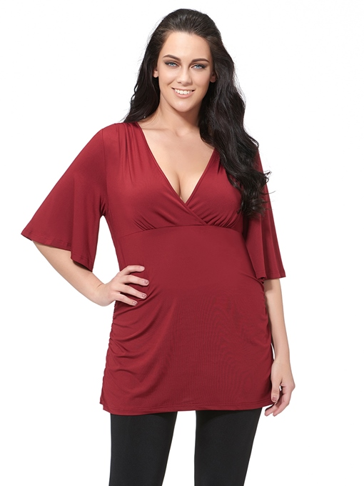 Ericdress Plain V-Neck Plus Size T-Shirt