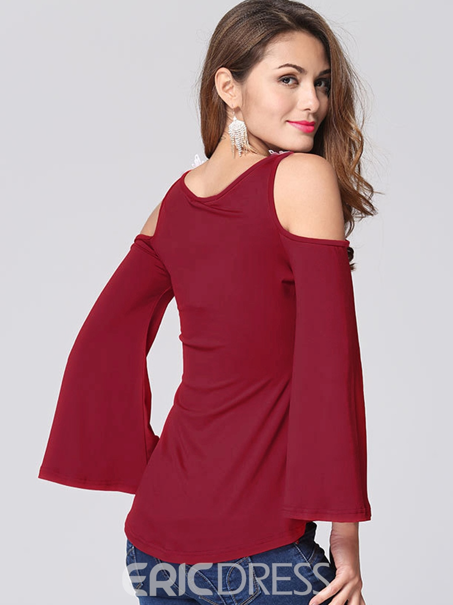 Ericdress Patchwork Off-Shoulder V-Neck Bell Sleeve T-Shirt