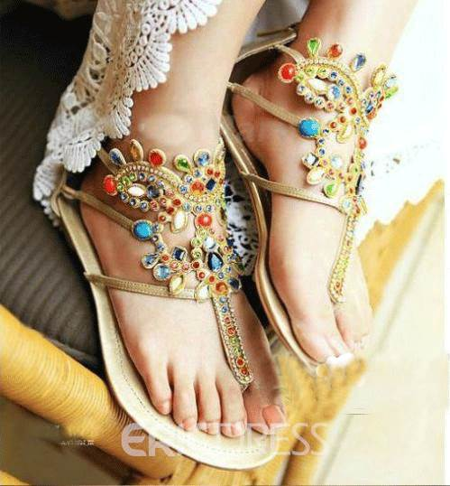 Sweet Flat Sandals with Shining Rhinestones