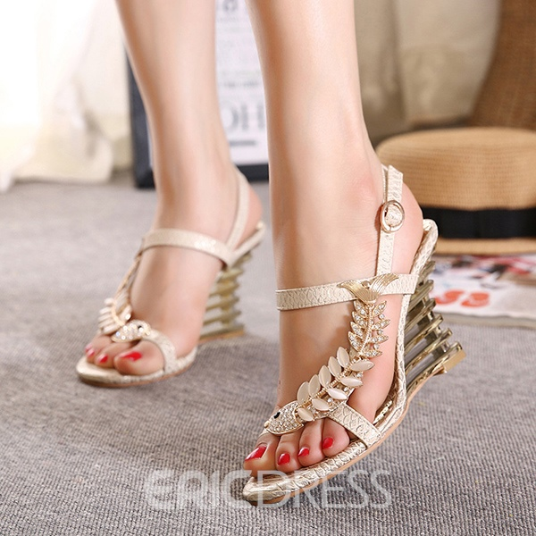 Ericdress Rhinestone Open-Toe Buckle Wedge Sandals