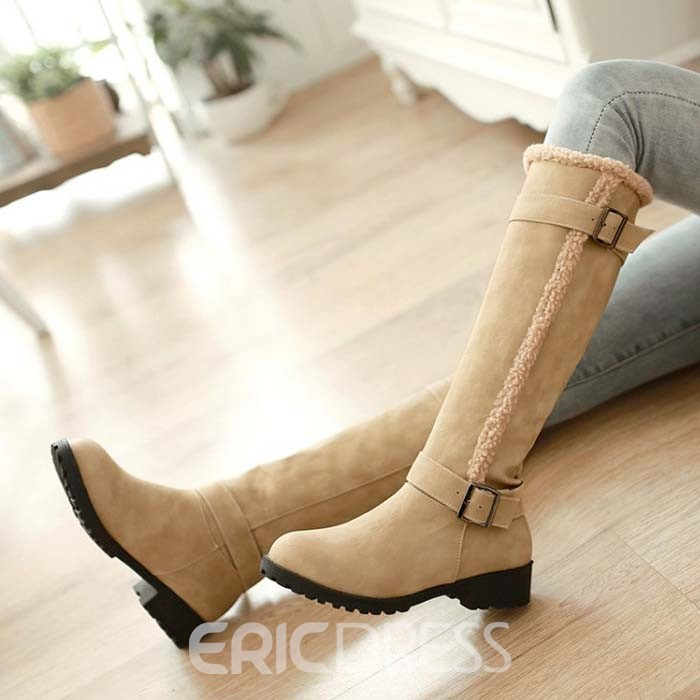 Ericdress Suede Knee High Boots with Buckles