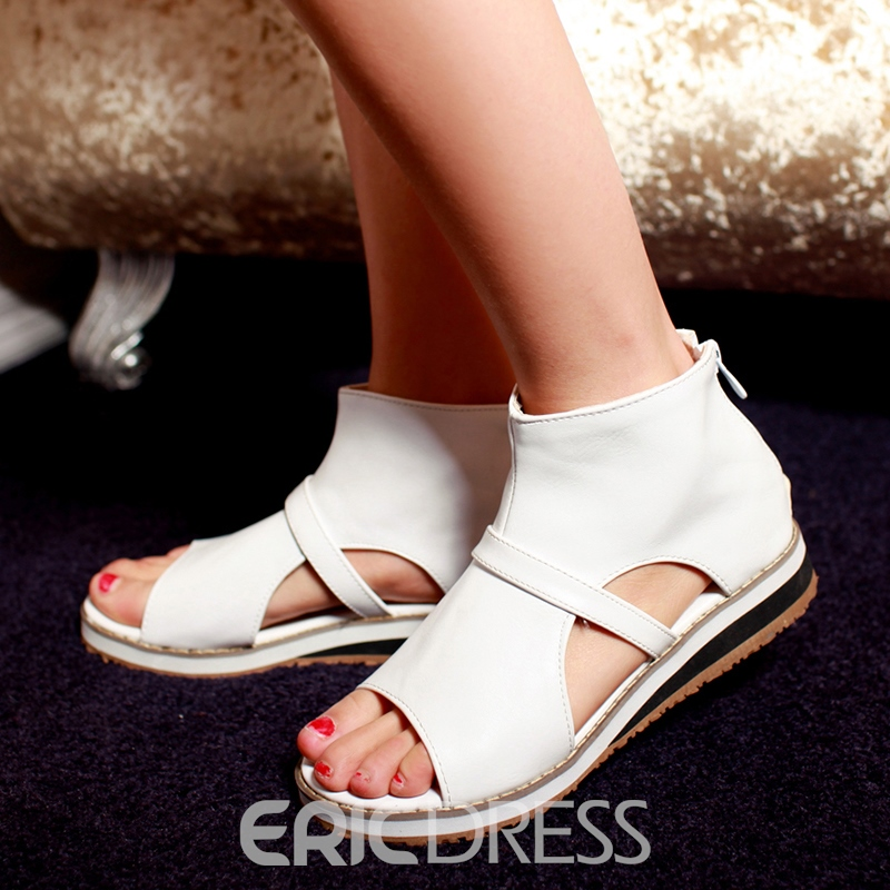 Ericdress Open Toe Zipper Plain Flat Sandals