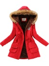Ericdress Faux Fur Fleece Hooded Cotton Coat
