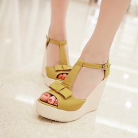 Ericdress Bowknots Peep-Toe T-Strap Wedge Sandals