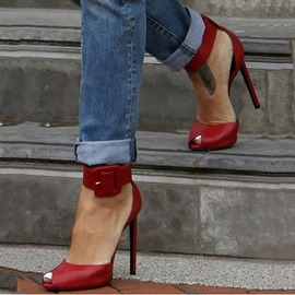 Ericdress Graceful Red Peep-toe Stiletto Sandals