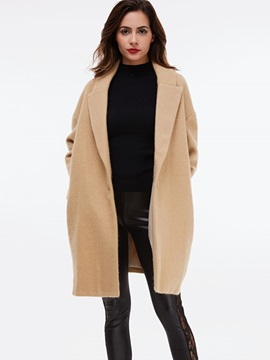 Ericdress Loose Solid Color Turn-Down Coat