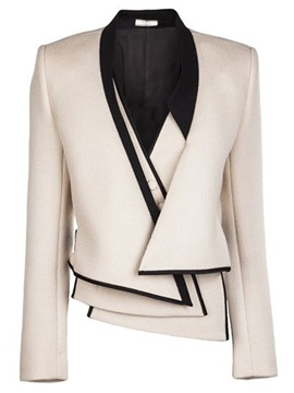 Ericdress Color Block Asymmetric Blazer