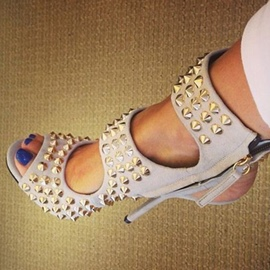 Ericdress Rivets and Zipper Peep Toe Stiletto Sandals