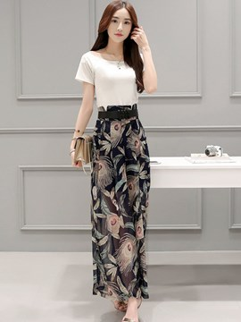 Ericdress Fashion Print Wide Legs Pants Suit