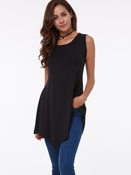 Ericdress Solid Color Asymmetric Casual T-Shirt