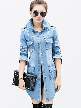 Vêtements de Denim simple boutonnage Ericdress porté