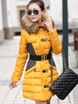Ericdress Single-Breasted Belt Cotton Padded Coat