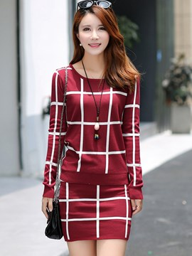Ericdress Plaid Knitwear Suit