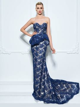 Ericdress Sweetheart Mermaid Appliques Lace Sequins Court Train Evening Dress
