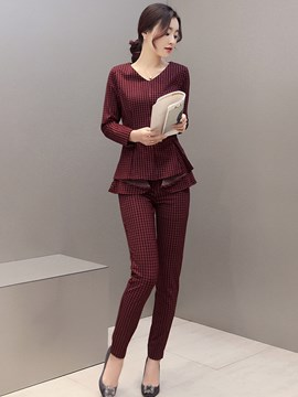 Ericdress Elegant Plaid Pants Suit