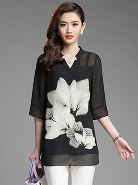 Ericdress Casual Printed Floral Blouse