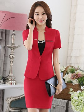 Ericdress Solid Color Slim Bodycon Formal Suit