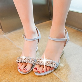 Ericdress Glittering Rhinestone Wedge Sandals