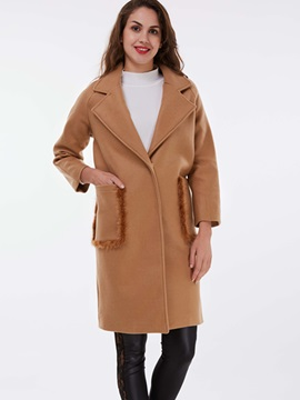 Ericdress Solid Color Faux Fur Patchwork Coat
