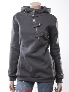 Ericdress Plain Hidden Button Hoodie
