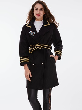 Ericdress Color Block Belt Slim Thick Coat