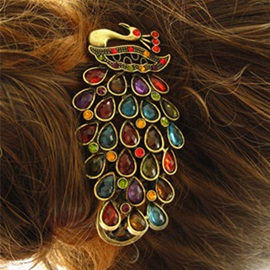 Vintage Style Colorful Peacock Gemstone Hairpin