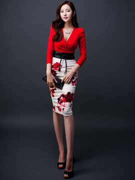 Ericdress Fashion Flower Print Skirt Suit