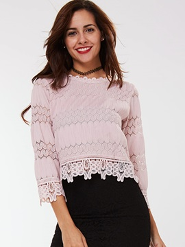 Ericdress Three-Quarter Lace Crochet Blouse