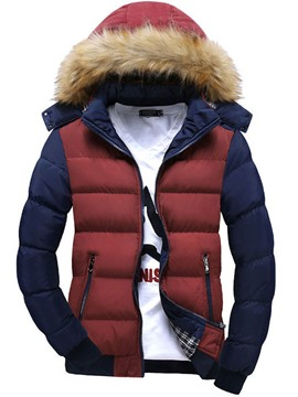 Ericdress Color Block Fur Collar Thicken Men's Cotton Coat