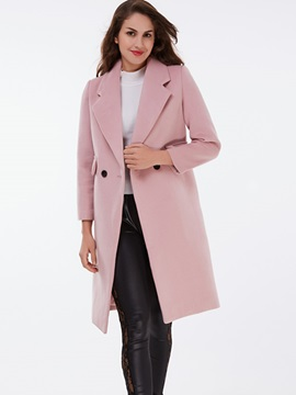 Ericdress Solid Color Polo Two-Buttons Straight Coat