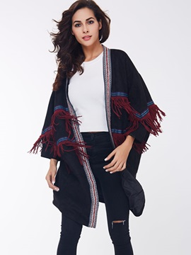 Ericdress Casual Color Block Tassel Cape