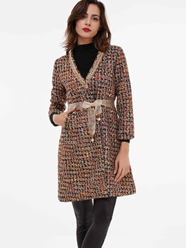 Ericdress V-Neck Belt Slim Coat