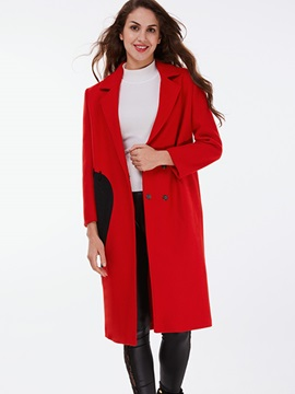 Ericdress Color Block Straight European Coat