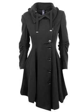 Ericdress Elegant Single-Breasted Asymmetric Coat
