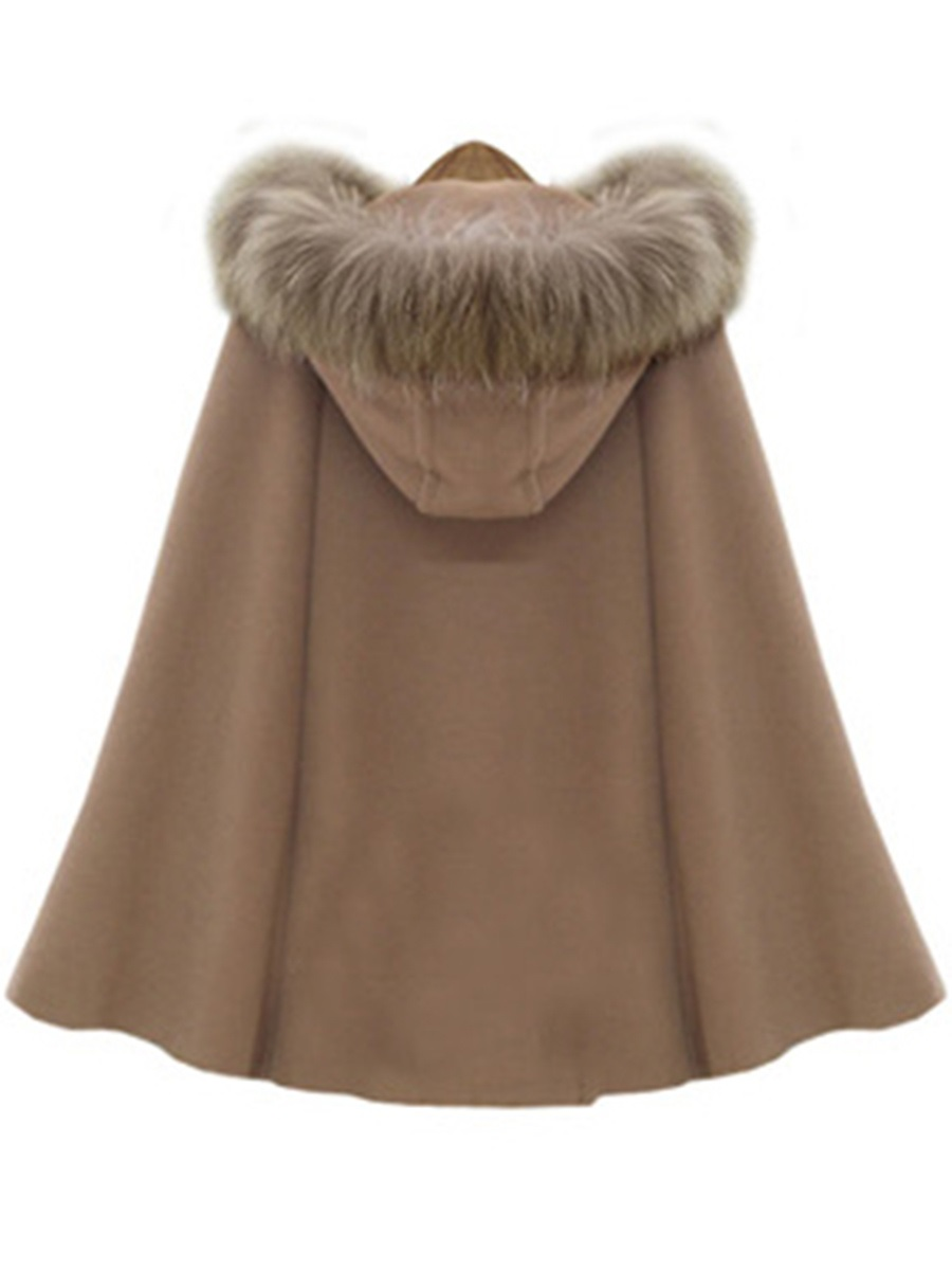 Ericdress Faux Fur Collar Woolen Coat