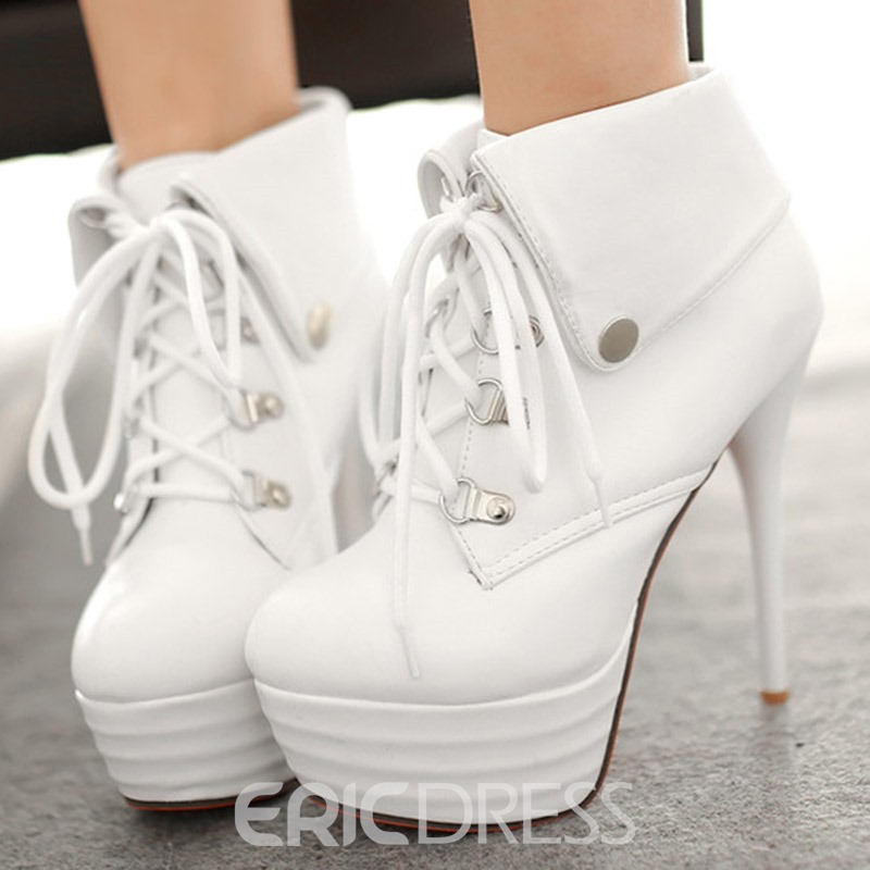 Ericdress Fashion Platform Lace up High Heel Boots